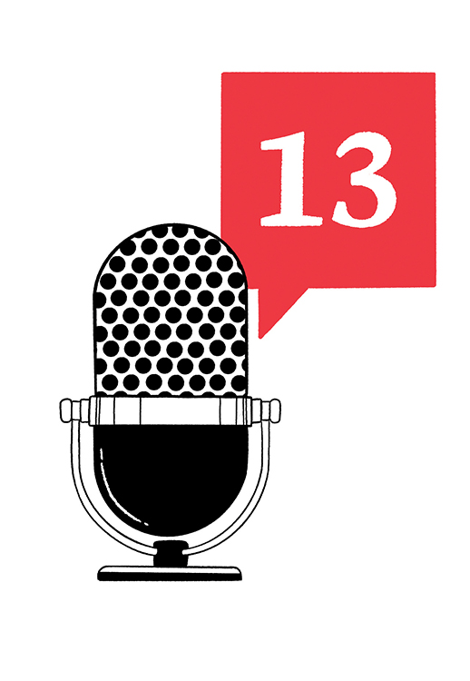 """illustration of microphone with """"13"""" podcast logo"""