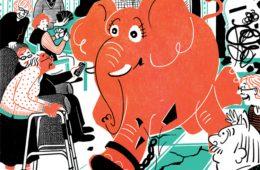 illustration of elephant rampaging through a nursing home