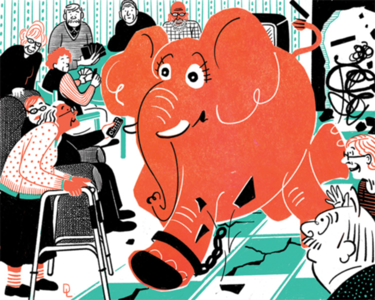 illustration of elephant rampaging through a nursing home