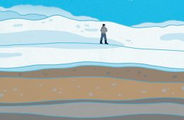 Illustration of sediment layers beneath snowy landscape