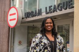 Kendra Brim outside the Buffalo Urban League