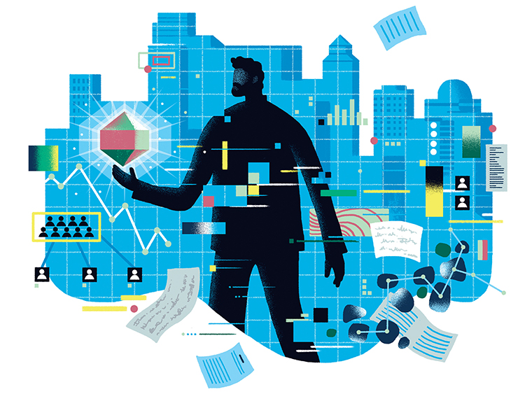 Silhouette of a man in a city with data and graphs circling around him