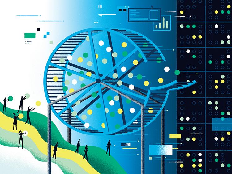 People entering balls of data into a randomizer wheel