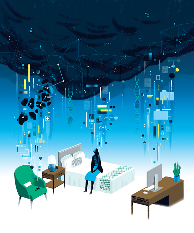 woman sitting in her home while her possessions reveal details about her through data entering a cloud above
