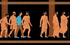 An illustration of a modern mad walking among men in robes from Ancient Greece
