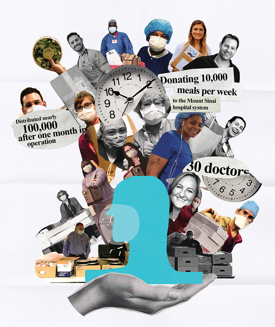collage of people in medical gear and newspaper titles