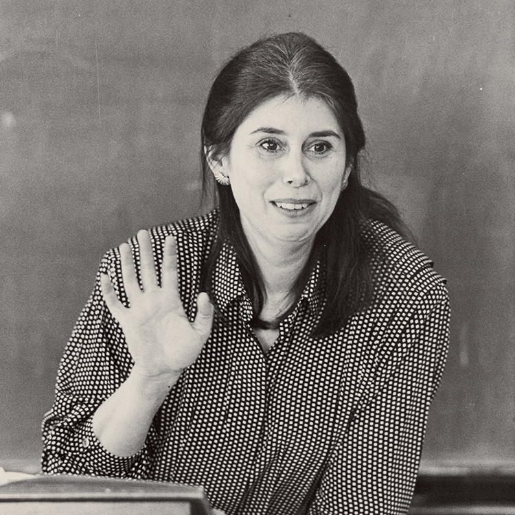 black and white photo of Jane Pinchin teaching
