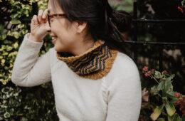 Alyson Chu wearing a knit scarf