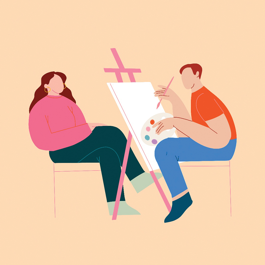 modern, bright illustration of a man painting a woman on an easel