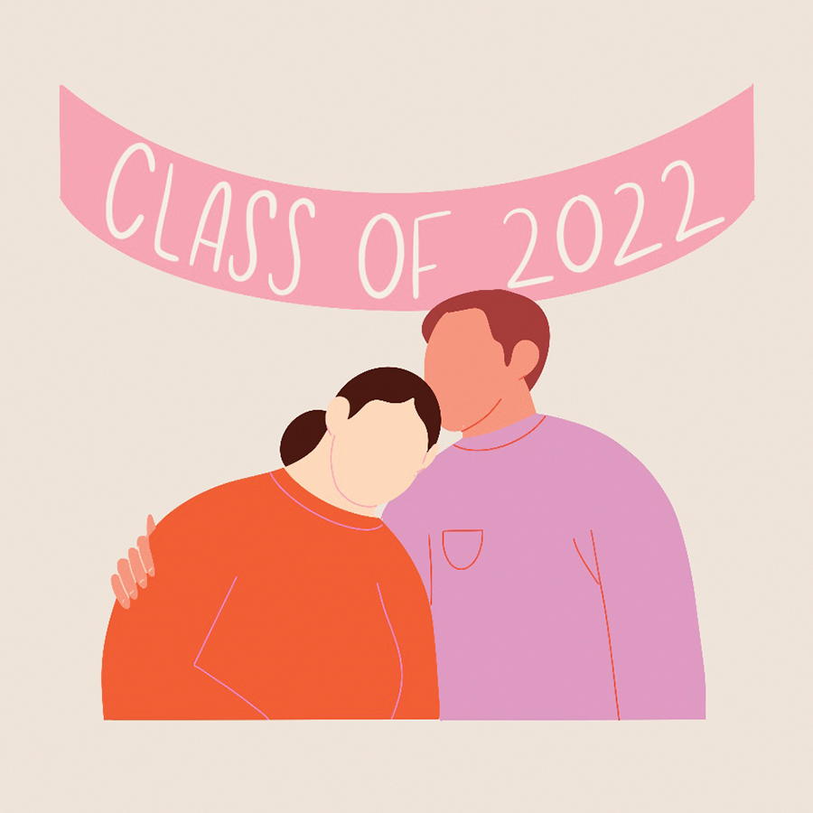 "A modern illustration of a man and a woman hugging under a banner that says ""Class of 2022"""