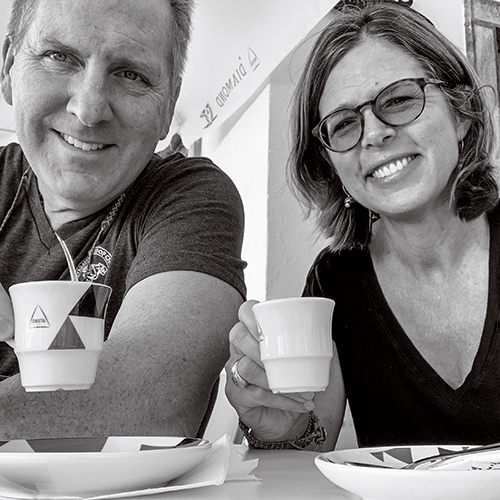 Chris and Becky enjoying an espresso abroad