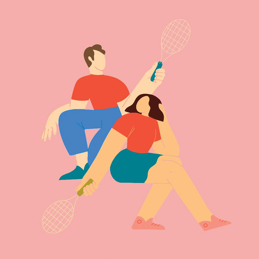 a modern illustration with soothing bright colors of a man and a woman playing tennis
