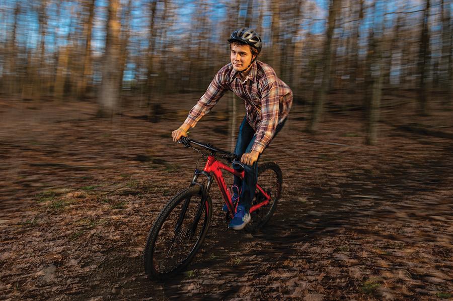Jacob Watts '21 mountain biking