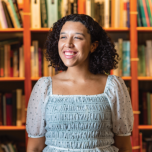 Carina Haden '21 poses for a portrait in Lathrop Hall