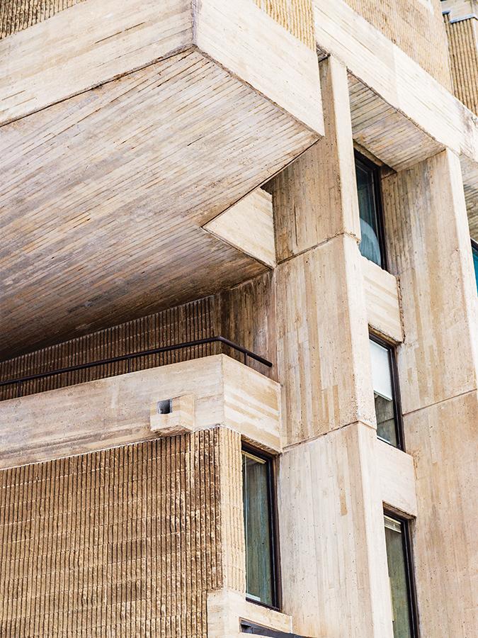 close up shot of Dana's concrete facade
