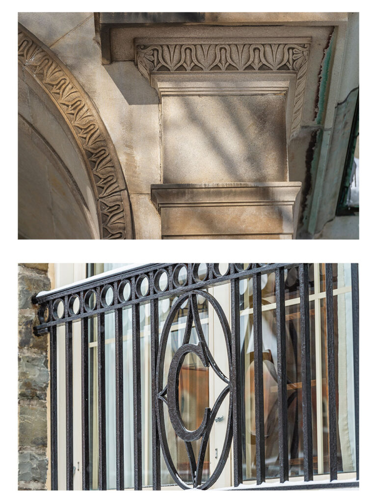 Architectural details of McGregory Hall: an iron gate with a C and greek-influenced columns