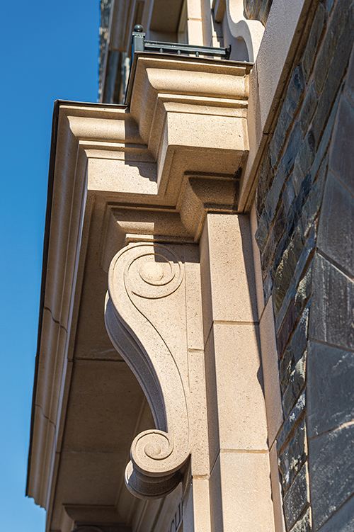 swirly architectural detail near Jane Pinchin Hall's molding