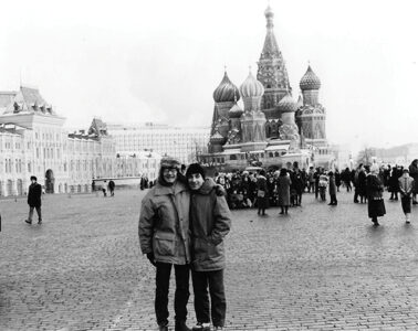 Richard Sylvester (left) with his partner, Vasya, in Moscow's Red Square