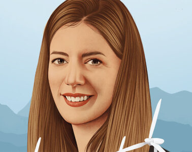 realistic illustration of Britta Von Oesen with hills in the backgound and wind mills in the foreground