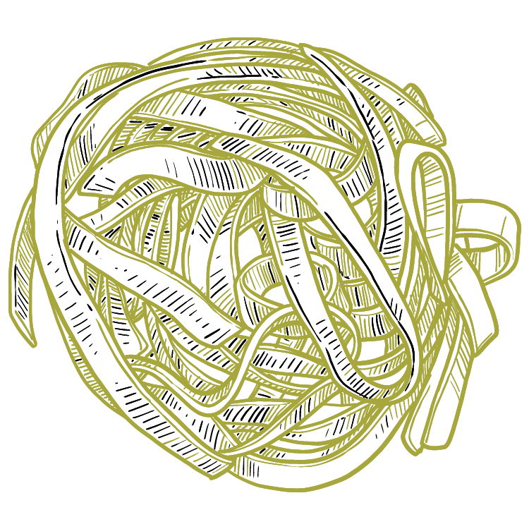 a swirl of long pasta noodles