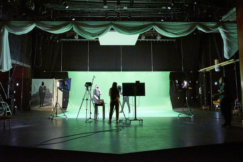 Recording studio with green screen.