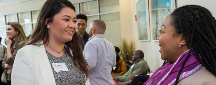 Karen Aguilar '20 gets advice at Mosaic Weekend 2017