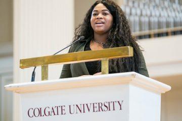 Chineyere Okogeri '18 delivers the student keynote speech at Colgate's Martin Luther King Jr. Week celebration