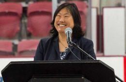 Vicky Chun '91, MA'94 stands at podium