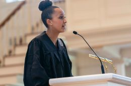 D'Jonita Cottrell '19 speaks at the 2019 Baccalaurate Service