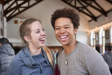 Director Brandon Doby '18 (right) and producer Lauren Sanderson '18, co-founders of ISO Film and ISO Labs, just before their funding pitch at Entrepreneur Weekend