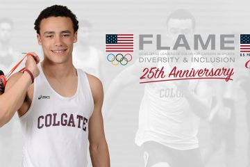 Portrait of Oliver Moe '19 with FLAME graphic