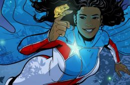Comic character La Borinqueña with a frog perched on her finger