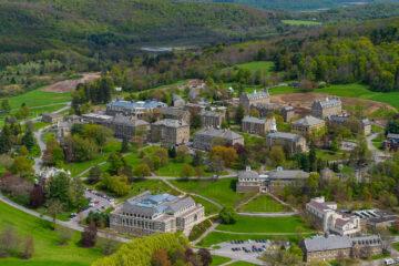 Aerial shot of Colgate campus