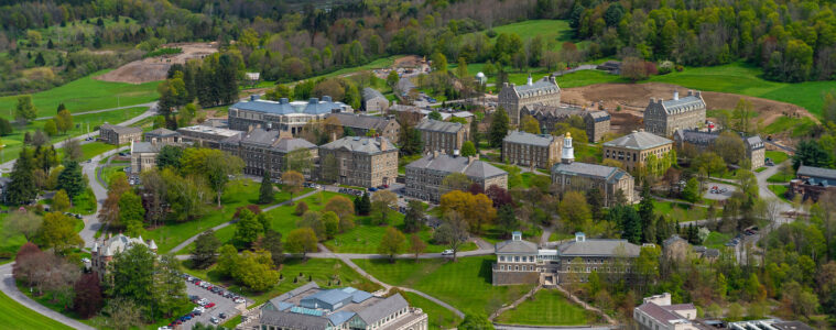 Aerial shot of Colgate campus