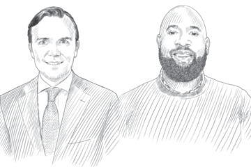 Illustration portraits of Chris Johnson and Carlton Walker