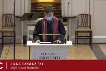 Jake Gomez '21, 1819 Award Winner, speaks at the Chapel Podium at the Baccalaureate Service