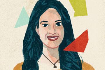 Illustration portrait of Najat Khan