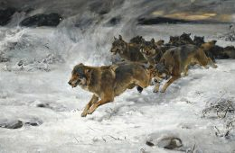 Painting of wolves running through snow