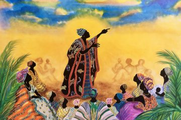 Illustration of storyteller pointing toward the sky while other women sit around her feet listening to her story