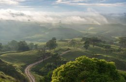 Dirt road in a Colombian landscape at sunrise with fog between the mountains in the background.