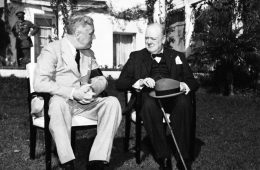 President Franklin D. Roosevelt and Prime Minister Winston Churchill in the garden of the Presidential villa during the Casablanca Conference