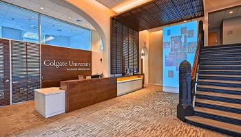 The front desk of the recently renovated Hurwitz Admission Center at Colgate