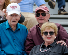 Jim Dickinson '39 in the stands of Andy Kerr Stadium
