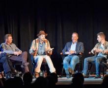Entrepreneur Weekend panelists, left to right: John Donahoe, Tony Bates, Ashton Kutcher, Daniel Rosensweig P'15, P'17, Brian Chesky, and moderator David Faber.