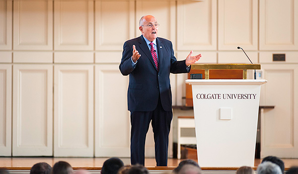 Former NYC Mayor Rudy Giuliani addresses students and faculty at the Colgate Memorial Chapel.