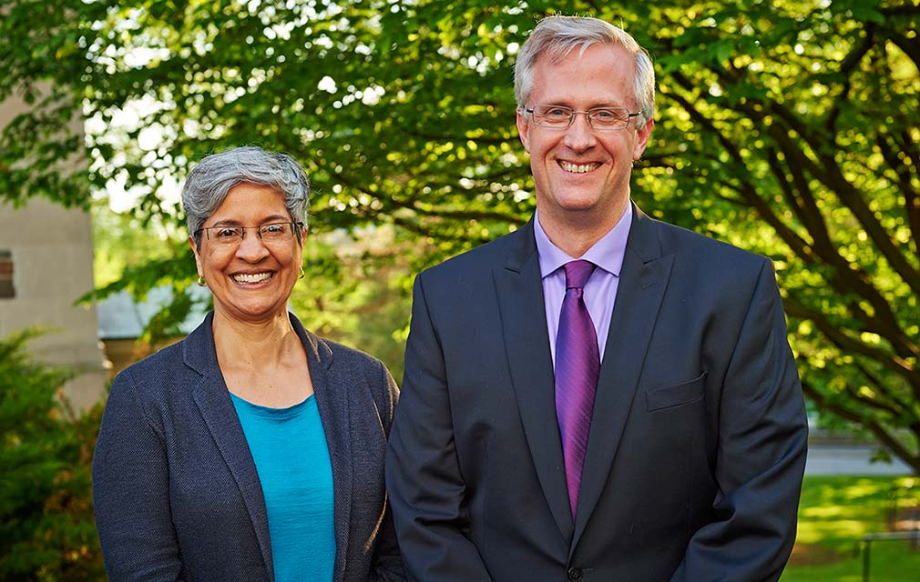 At Reunion 2014, Padma Kaimal, professor of art and art history, and Douglas Johnson, associate professor of psychology, received the distinguished teaching award. (Photo by Andrew Daddio)