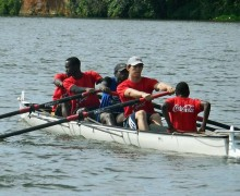 Matt Knowles rowing with the Ugandan Rowing Federation