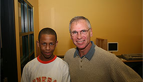 Gary Eichhorn posing with a Music and Youth student