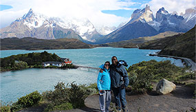 Couple together in the Chilean Andes