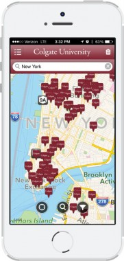 Colgate mobile app showing nearby alumni addresses on a map